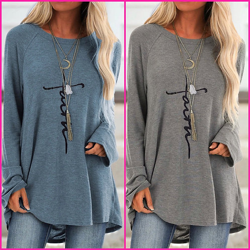 Oversized Long Sleeve Top- Faith -6083