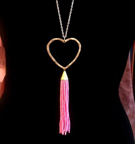 Heart & Tassel Necklace -Pink- 3064