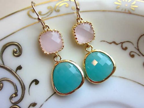 Pink Opal & Aqua Blue Earrings -2025