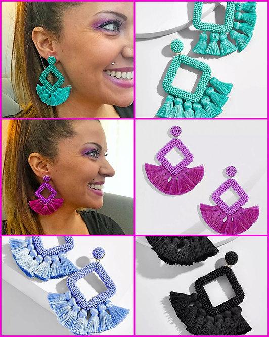 Bead and Tassel Diamond Shape Earrings -2062