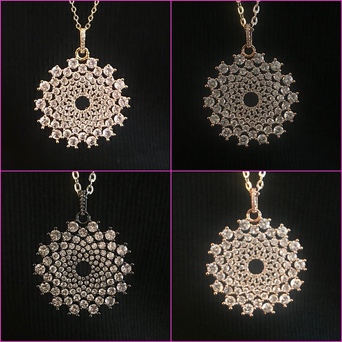 CZ Radial Flower Necklace - 4 colors choices - 3054