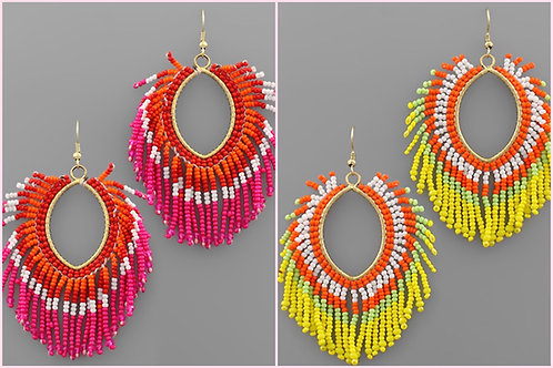 Beaded Fan Earrings -2108