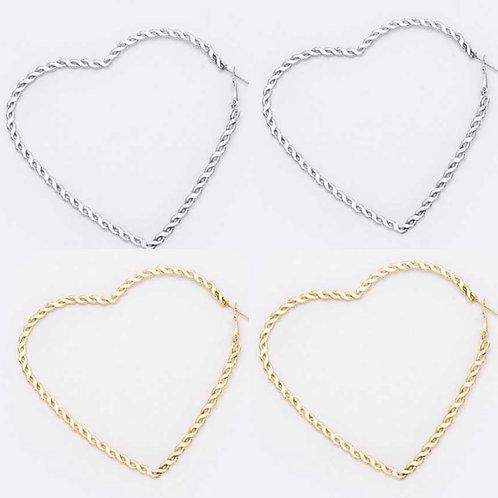 Chain Texture Heart Hoop Earrings -2101