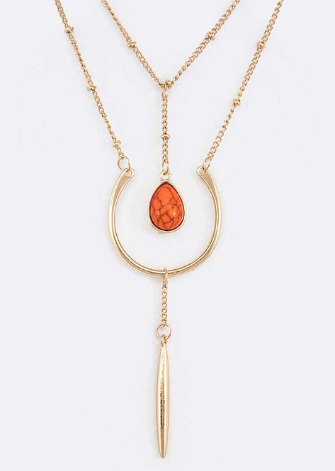 Stone Drop Layered Necklace - 3038
