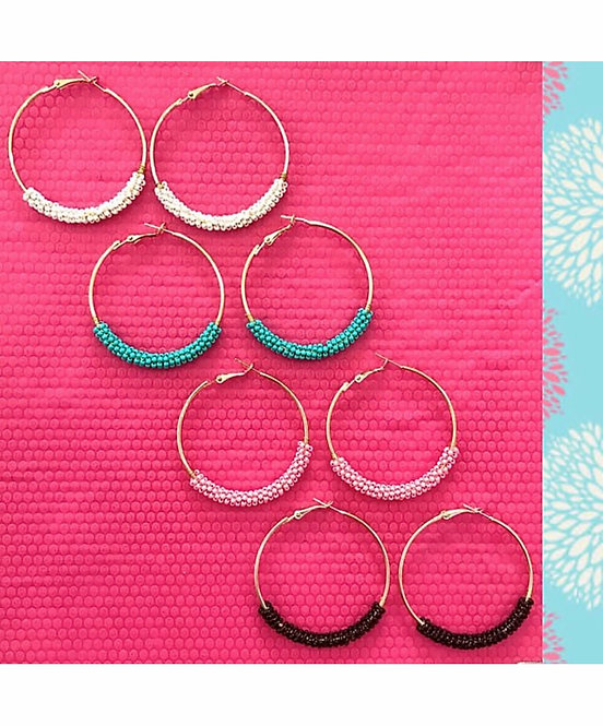 Sead Bead Wrapped Hoops- 2046