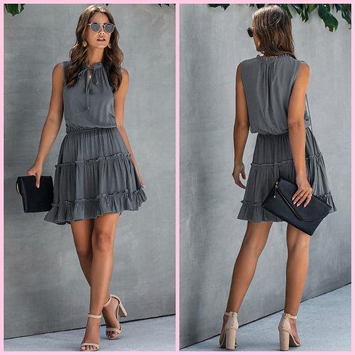 Drawstring Mini Dress- Charcoal -7025