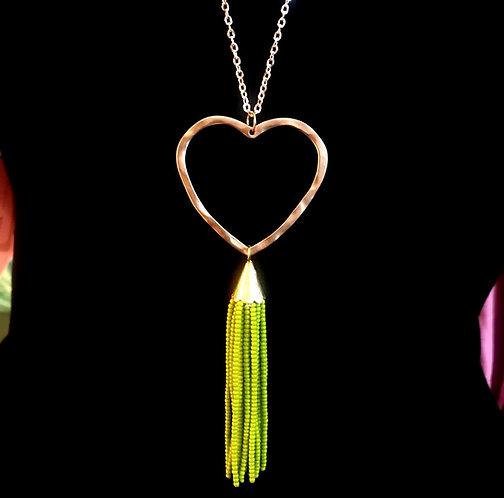 Heart & Tassel Necklace -Lime- 3065