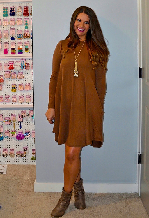Fall Dress with Pockets - Autumn Brown -7021