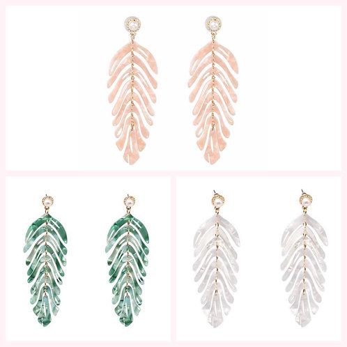 Acrylic Leaf Earrings - Blush, Ivory or Green- 2133