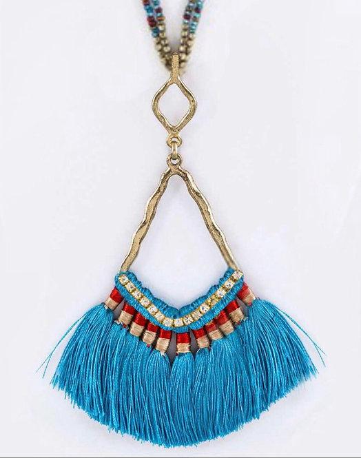 Iconic Tassel Fan Pendant & Layer Beads Necklace  Blue - 3040