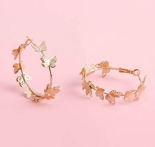 Butterfly Tassel Hoop Earrings -2090