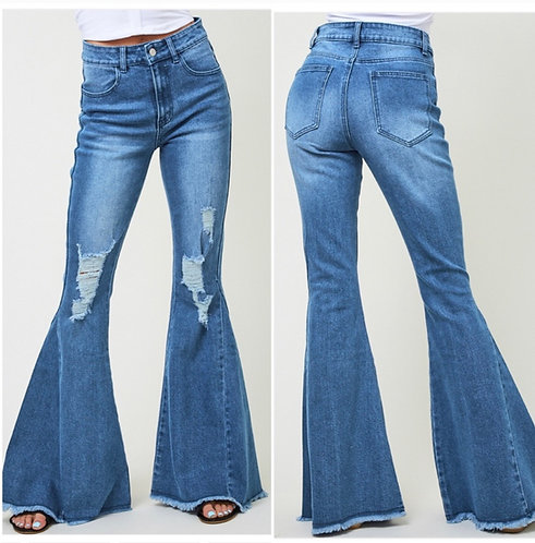 """Distressed Bell Bottom Jeans- 34.5"""" Inseam- 9073"""