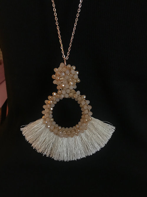 Bead & Tassel Necklace - Champagne - 3051