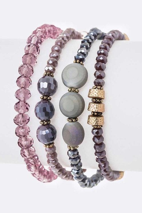 Mix Beads Layered Stretch Bracelet Set -4010