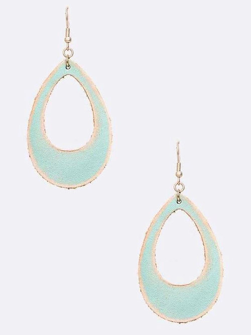 Distressed Leather Cutout Earrings -2093