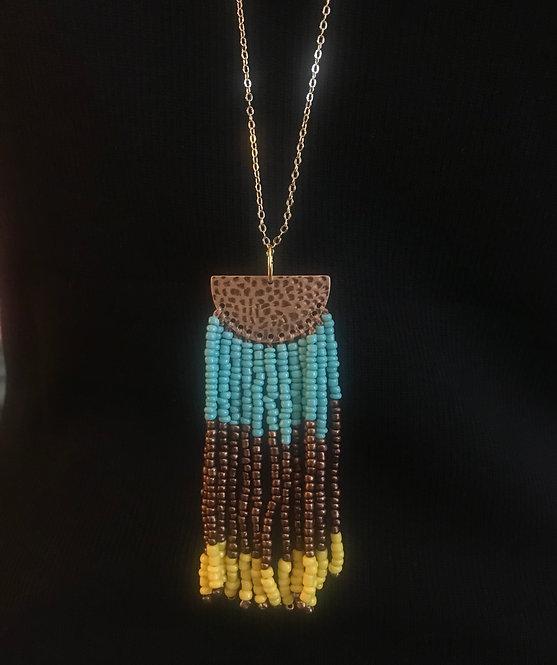 Beaded Fringe Half Circle Necklace -3059