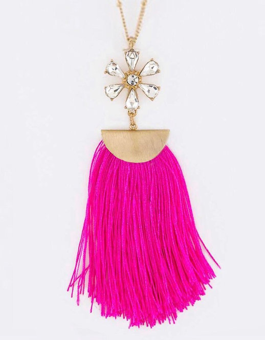 Crystal Flower & Tassel Pendant Necklace- 3039