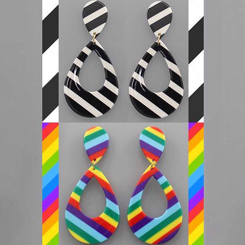 Striped Earrings- Black/White or Rainbow -2048