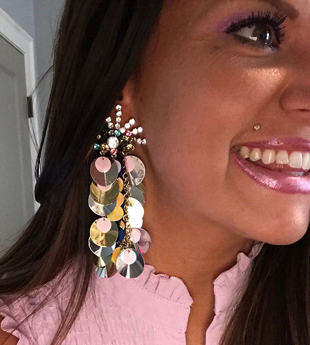 Colorful Rhinestone & Sequin Drop Earrings -2087