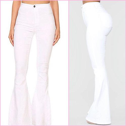 White Bell Bottom Jeans - 9062