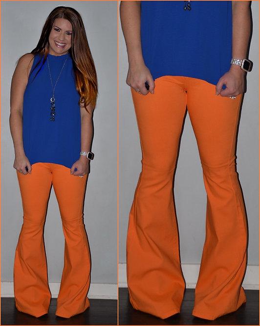 Orange Bell Bottom Jeans - 9056