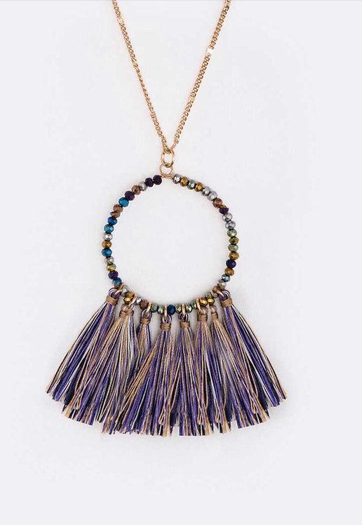 Crystal Beads Tassel Pendant Long Necklace - 3037