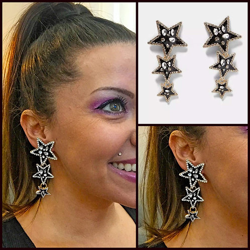 Rhinestone and Black Triple Star Earrings - 2066