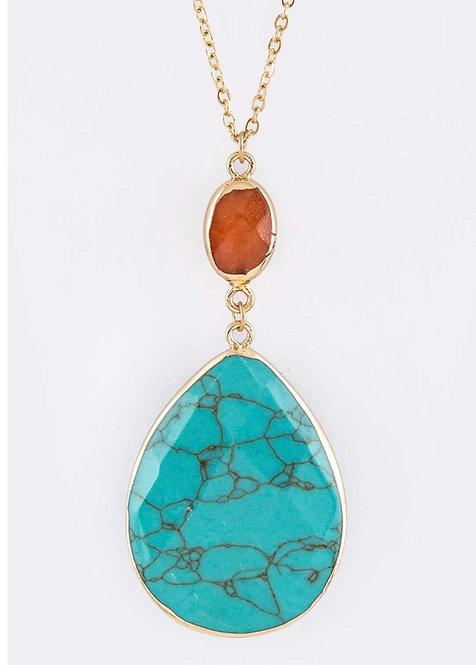 Teardrop Stone Pendant Necklace-Turquoise -3004