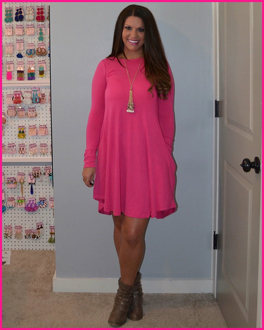 Fall Dress with Pockets - Hot Pink -7022