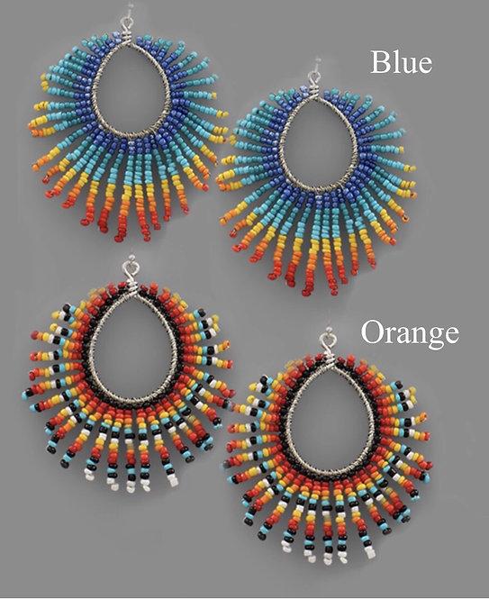 Beaded Fan Earrings -2041