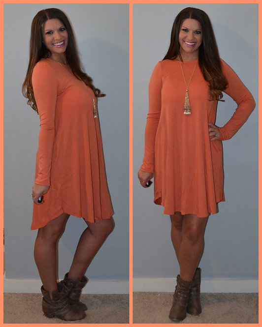 Fall Dress with Pockets - Ash Copper -7018