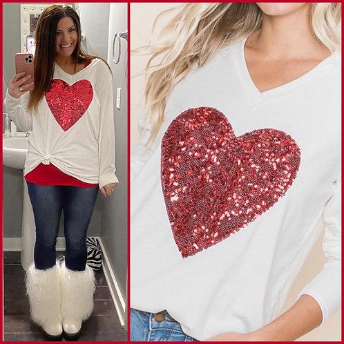 Sequin Heart Top -6100
