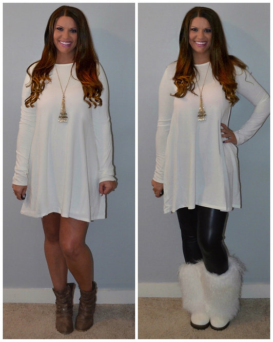 Fall Dress with Pockets - Winter Ivory -7019