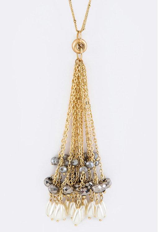 Gray Bead & Pearl Tassel Necklace -3033