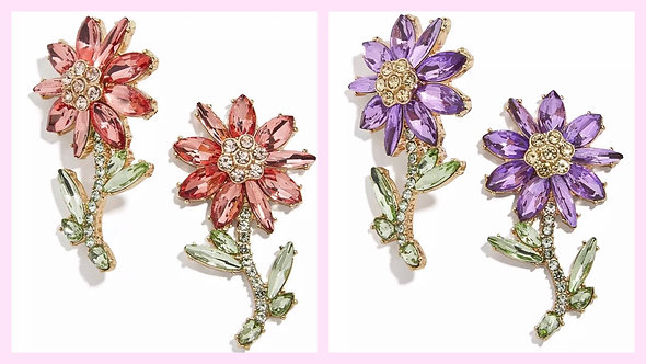 Rhinestone Flower Earrings -2060