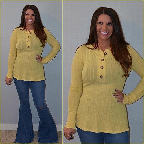Henley Long Sleeve Top-Yellow 6056
