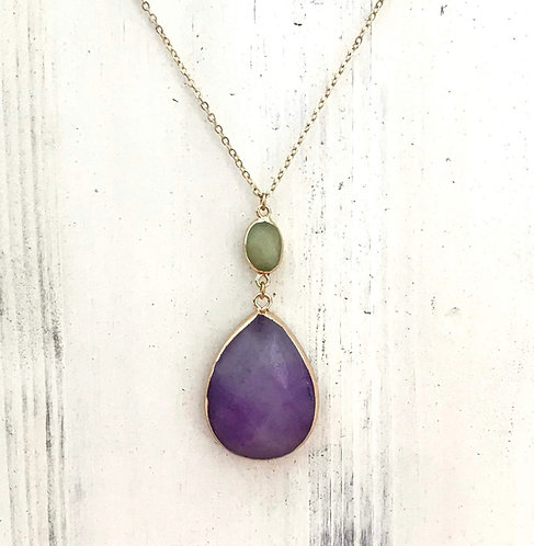 Teardrop Stone Pendant Necklace-Purple -3002