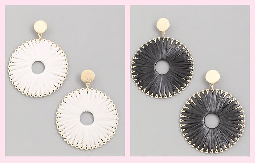 Circle Disc Dangle Earrings-White or Black -2055