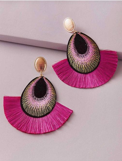 Pink Peacock Feather Fan Earrings -2092
