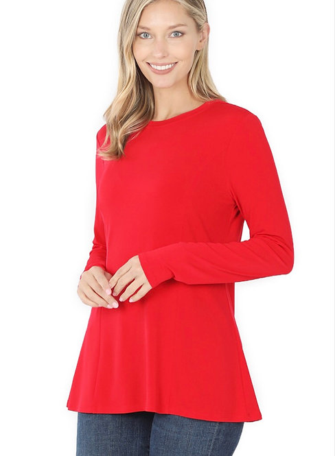 Long Sleeve Jersey Knit A-Line Top- Red     -6108