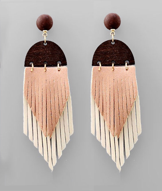 Leather Tassel & Wedge Earrings -2105