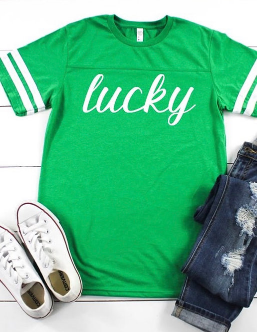 Kelly Green Lucky Varsity Tee- 6115