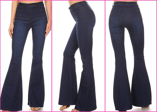 Dark Denim Bell Bottom Jeans - 9068