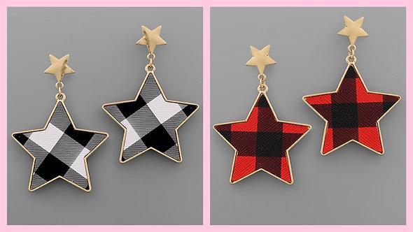 Buffalo Plaid Star Dangle Earrings -2109