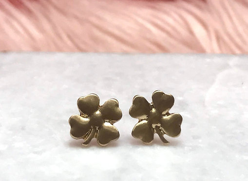 Gold Metallic Four Leaf Clover Studs - 2136