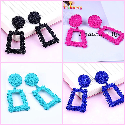 Textured Rectangle Earrings - 4 color options -2116