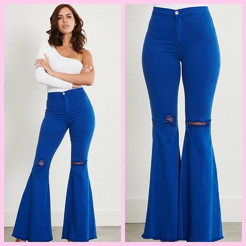 Royal Blue Bell Bottom Jeans- 9045
