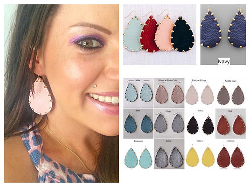 Leather Teardrop Earring with Gold Bead Trim- 2036