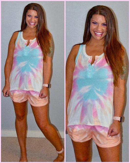 Sleeveless Tie Dye Lounge Wear  - 8014