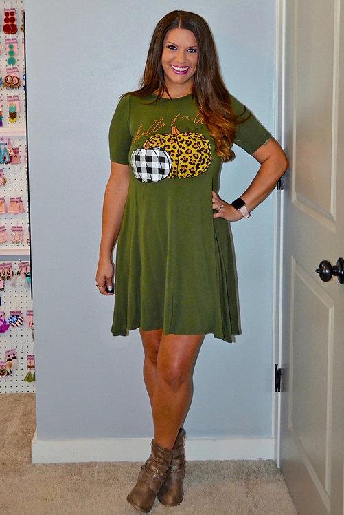 Hello Fall Olive Green Dress -7023